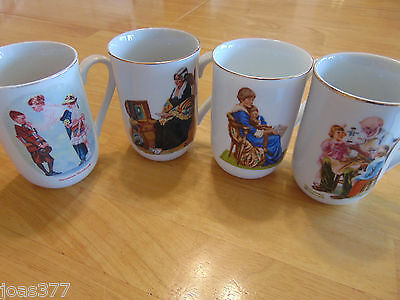 Lot of 4 Norman Rockwell Cups Mugs Trimmed in 24 Karat Gold*