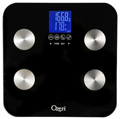 Ozeri Touch 440 lbs Total Body Bath Scale – Measures Weight, Fat, Muscle, Bone