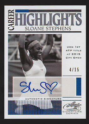 2017 Leaf Signature Series Tennis Sloane Stephens career autograph #/15 -AK