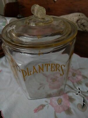 Planters Peanuts Large Glass Cookie Jar Antique Vintage