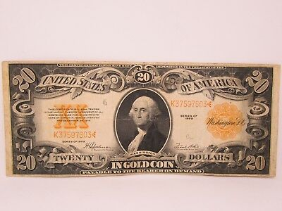 1922 US $20 Large Size Gold Certificate