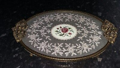 Beautiful Petit Point  Dressing Table Tray . Great Condition.