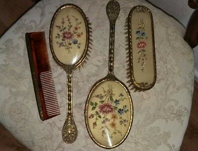 Vintage 4pc Petit Point Dressing Table Set - Hand Mirror  2 Brushes  & Comb