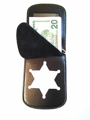 6 point Star Badge Wallet RFID Front Pocket Badge Wallet ID C/C Recessed Cut Out