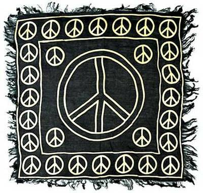 """NEW Gold Peace Sign on Black Altar Cloth 18""""x 18"""""""