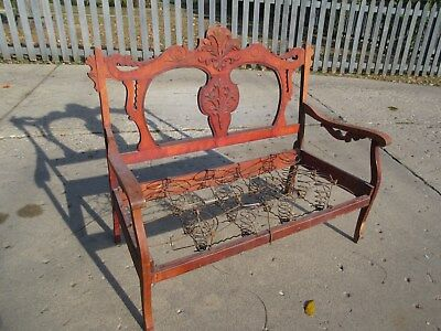 Antique Victorian love-seat / couch, carved wood frame. No Reserve! Pickup only.