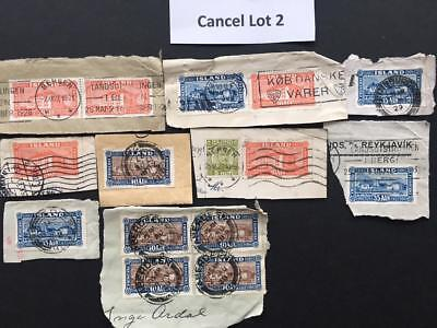 Cancels Lot 2 Iceland - Ship mail foreign cancels cancellations