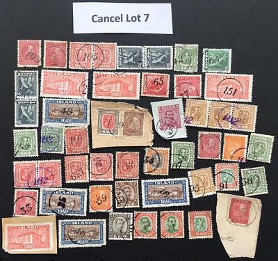 Cancels Lot 7 Iceland - Numeral cancels cancellations Most stamps with faults