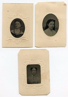 3 TINTYPE CDV SIZE PAPER FRAMES BEAUTIFUL YOUNG LADIES Necklace 1- Memphis TN