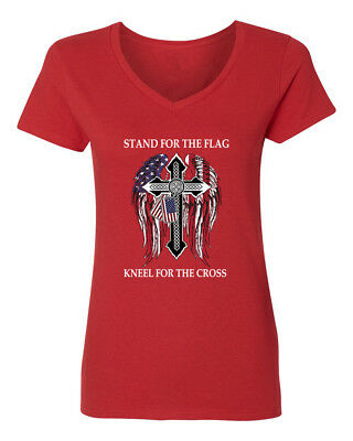 Stand For The Flag Kneel For The Cross American Pride Womens V-Neck T-Shirt