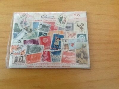 An 'Old Time' Packet Of Vintage Chinese Stamps. A Recent Donation To Charity.