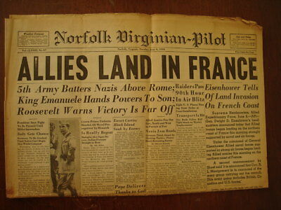 Wwii June 6Th 1944 D-Day Allies Invasion Headline Newspaper Frontpage Norfolk Va
