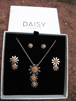 Daisy London Marguerite Daisy Silver Necklace And Earrings Boxed Set
