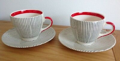 Two Vintage Cups and Saucers - 1950s - Red and Grey - Broadhurst - Harlem