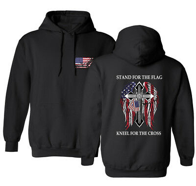 Stand For The Flag Kneel For The Cross Front & Back American Mens Sweatshirt