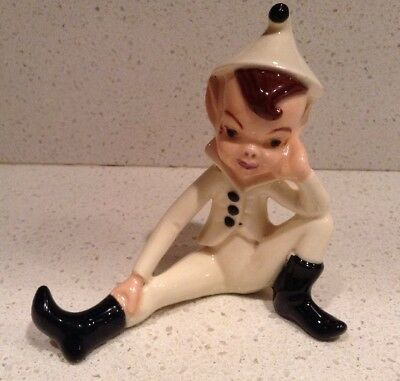 Vintage Ceramic White Pixie Elf Figure Christmas Holland Mantel Shelf Gnome
