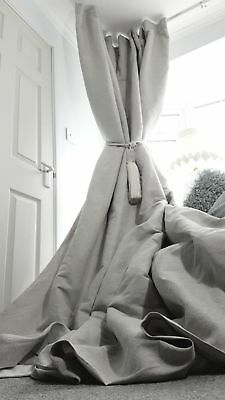 """NEW Quality 100%Irish Grey Linen Blackout/Thermal Lined Heavy 93""""L 55""""W Curtains"""