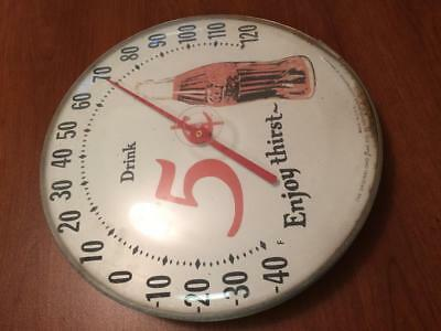 """COCA COLA - Advertising - Vintage -12"""" Round - 5 Cent = Jumbo Dial Thermometer"""