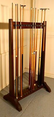 Large 19th Century Mahogany 28 Snooker Cue Rack and Cues