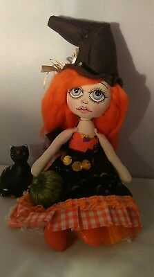 Handmade Rag Doll, Witch, 13 Inc, OOAK Collectable by Bianca