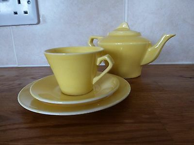 Vintage yellow small teapot, cup, saucer & plate
