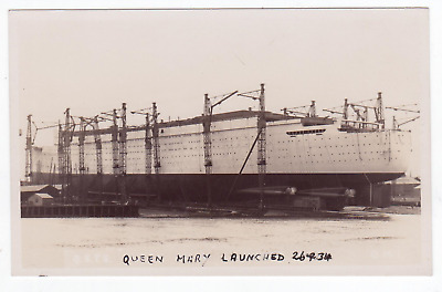Cunard White Star Line RMS Queen Mary being built on the river Clyde - QM1