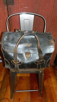 antique doctor bag vintage leather satchel pilot crew airline luggage lawyer WOW