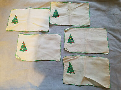 5 Marghab Madiera embroidery Christmas Tree cocktail napkins