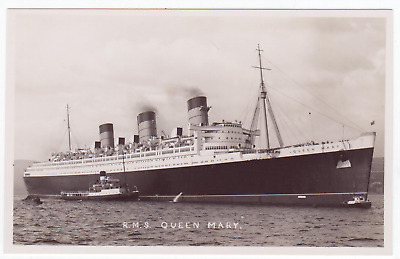 Cunard Line RMS Queen Mary on sea trials by the river Clyde - only 2 lifeboats