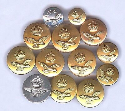 12 Royal Air Force Buttons And 1 Atc Button