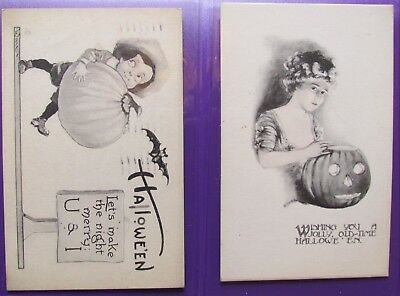 2 Rare Old Halloween Postcards, one dated 1913 inc Pumpkins. Both USA.