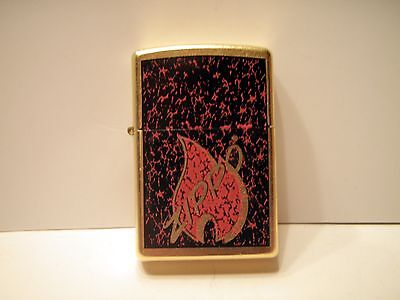 New Red Flame Crackled Brushed Brass Zippo Lighter 07 NO BOX