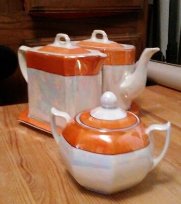 Vintage Lusterware Dual Twin Teapots With Lids, Tray, and sugar