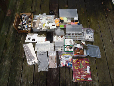 BIG LOT of Vintage Fly Tying/Flies and Materials (fishing equipment from estate)