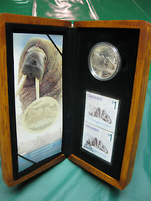 2005 Canada Atlantic Walrus and Calf $5 Silver Proof Coin & Stamp Set