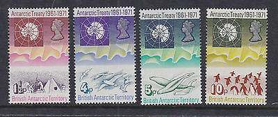 British Antarctic Territory BAT 1971 Mint MLH Full Set 10th Anniversary Treaty