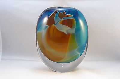 Peter Layton  London Glass Blowing Ovoid Vase ~ Giraffe Pattern