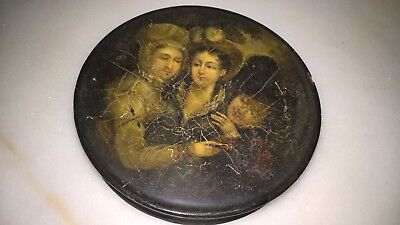 ANTIQUE 19th CENTURY STOWBASSER STYLED CIRCULAR PAPIER MACHE SNUFF BOX