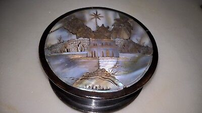 Vintage Indian Mother Of Pearl Inlaid Circular Wooden Box