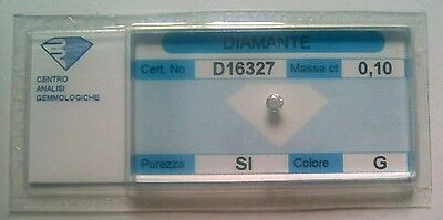 Diamante naturale certificato in blister 0.10 ct. G SI