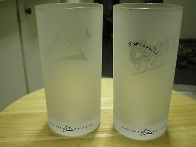 Coors Light Etched Glass Beer Glasses X Two 11 OZ ? 6 in Tall Nice Frosty