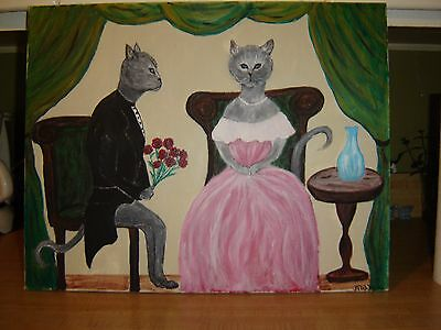 """Cat Painting Called """"Waiting for Flowers"""" Whimsical Painting 16 X 20"""
