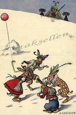 HUMANIZED RABBITS celebrating CARNIVAL spotted by dachshunds ROESELER