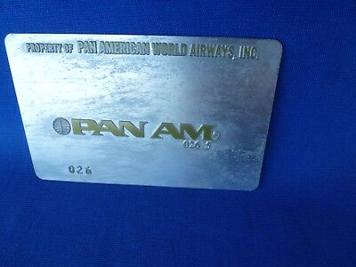 Vintage PAN AM AIRLINES Ticket Validation Plate Travel Agency Agent Metal