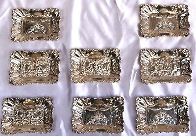 Magnificent German Early 1900's Eight Pieces Of 800 Silver Card Holders