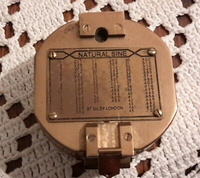 heavy solid brass compass natural sine case level