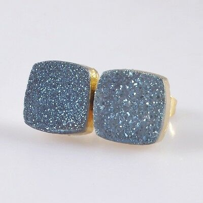 10mm Square Natural Agate Titanium Druzy Stud Earrings Gold Plated T039610