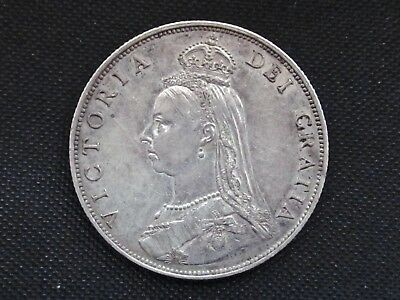 Queen Victoria Silver .925 Florin 1887 Jubilee Two Shillings 2/- - Ef / Ef+ Cond