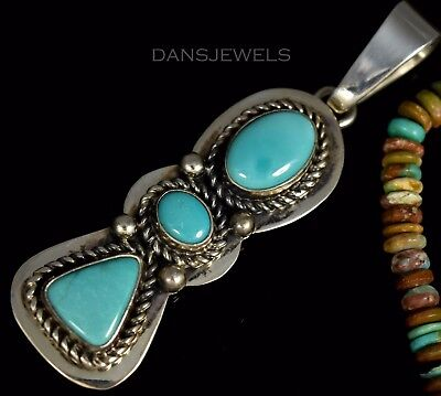 Old Pawn Vintage Navajo Handmade Turquoise Sterling Pendant by Livingston