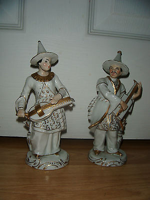 Pair Of Sitzendorf Oriental Gentlemen Musicians ~ Excellent Condition